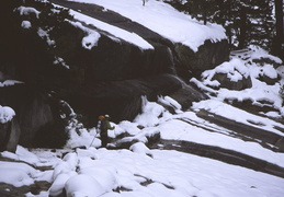 hiking among the snow, ice, granite