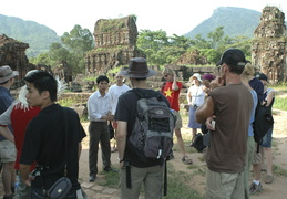 Tour guide discusses the history of the My Son ruins