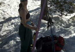 Mandy gearing up for a warm ski