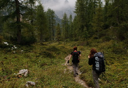 hiking into the peaks and clouds of the Alps