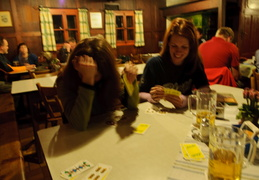 playing cards and drinking beer in Karlingerhaus