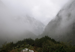 looking through the clouds towards Konigsee