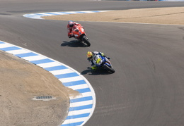 Valentino and Stoner in the corkscrew