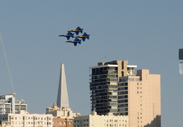 Blue Angels flying over San Francisco