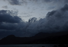 storm clouds hang over Plakias Bay